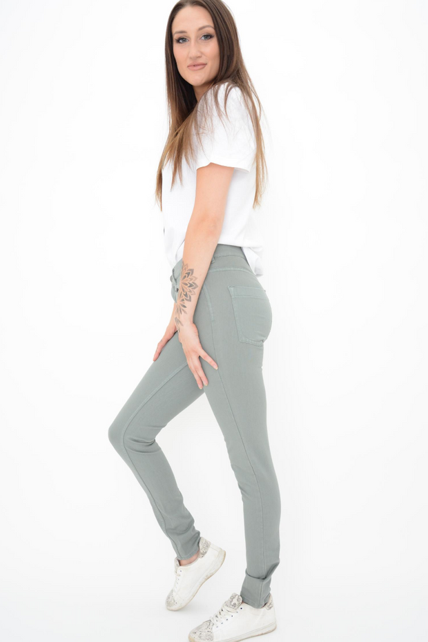 French Connection Lily Tribal Green Zip Super Skinny Jeans