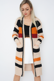 Beige Colour Block Knitted Longline Cardigan
