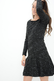 French Connection Black Space Dye Fit & Flared Dress