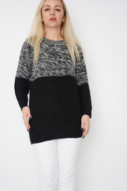 Black Cable Knit Contrast Jumper