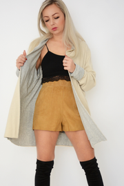 Beige Fine Knit Lapel Collar Cardigan