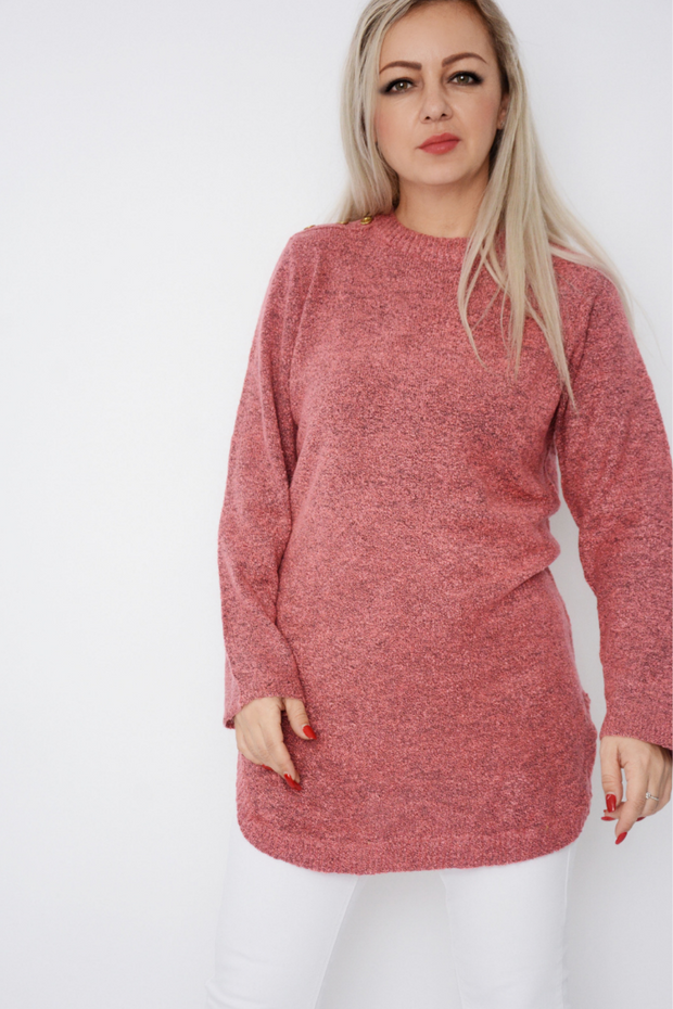Salmon Pink Soft Knit Curved Hem Jumper