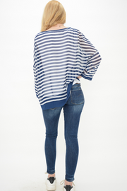 Navy Nautical Stripes Chiffon Top