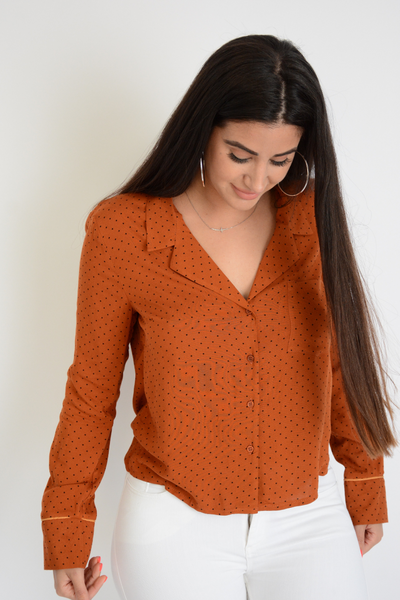 Tan Spotty Print Classic Collar Blouse