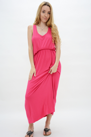Coral Racer Back Jersey Maxi Dress