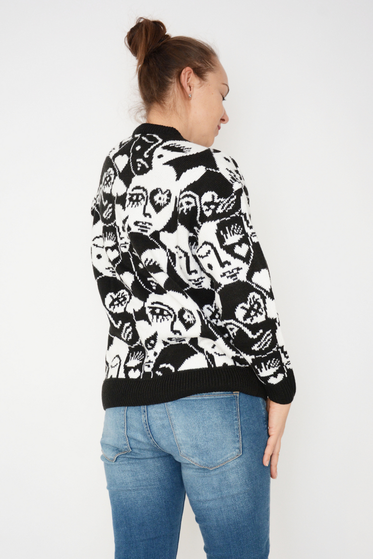 Black Face Logo Chunky Knit Jumper