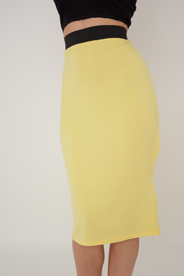 Lemon Jersey Knee Length Pencil Skirt