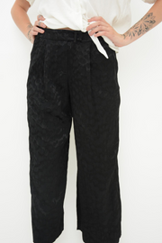 French Connection Black Jacquard Print Wide Leg Culotte Trousers