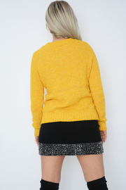 Yellow Cable Knit Long Sleeve Jumper