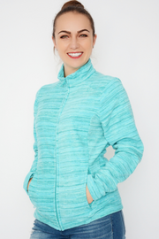 Aqua Blue Soft Lightweight Zip Fleece Jacket