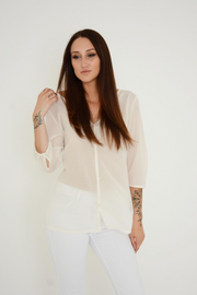 French Connection Cream Button V Neck Top