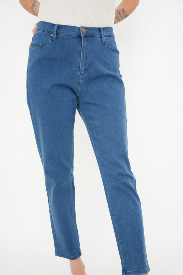 French Connection Mid Blue High Rise Slim Crop Jeans