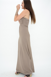 Mocha Bow Jersey Bandeau Maxi Dress
