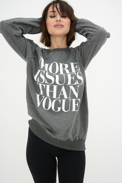 Grey More Issues Than Vogue Logo Sweater