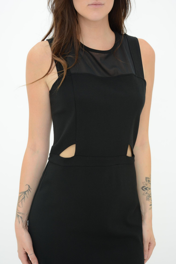 FRENCH CONNECTION BLACK MESH CUT OUT PENCIL DRESS