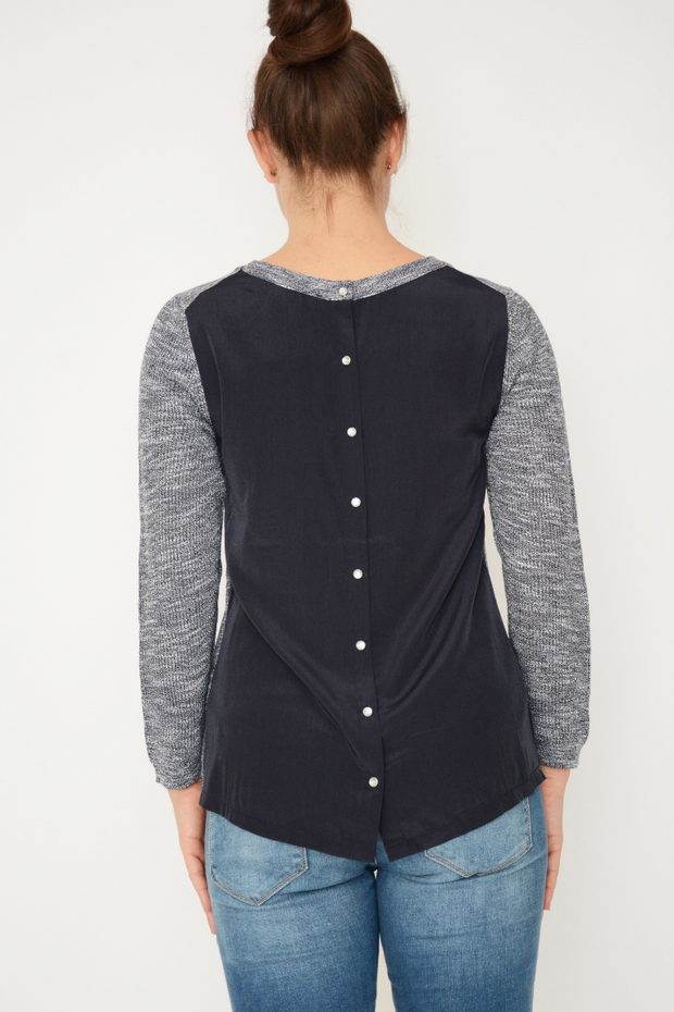 French Connection Blue Contrast Button Back Jumper