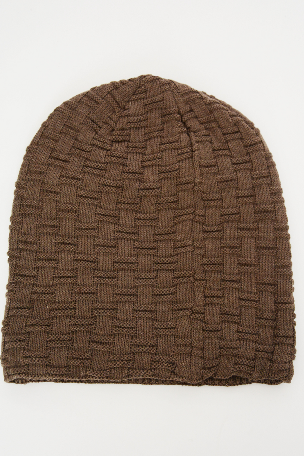 Brown Fur Lined Knit Beanie Hat
