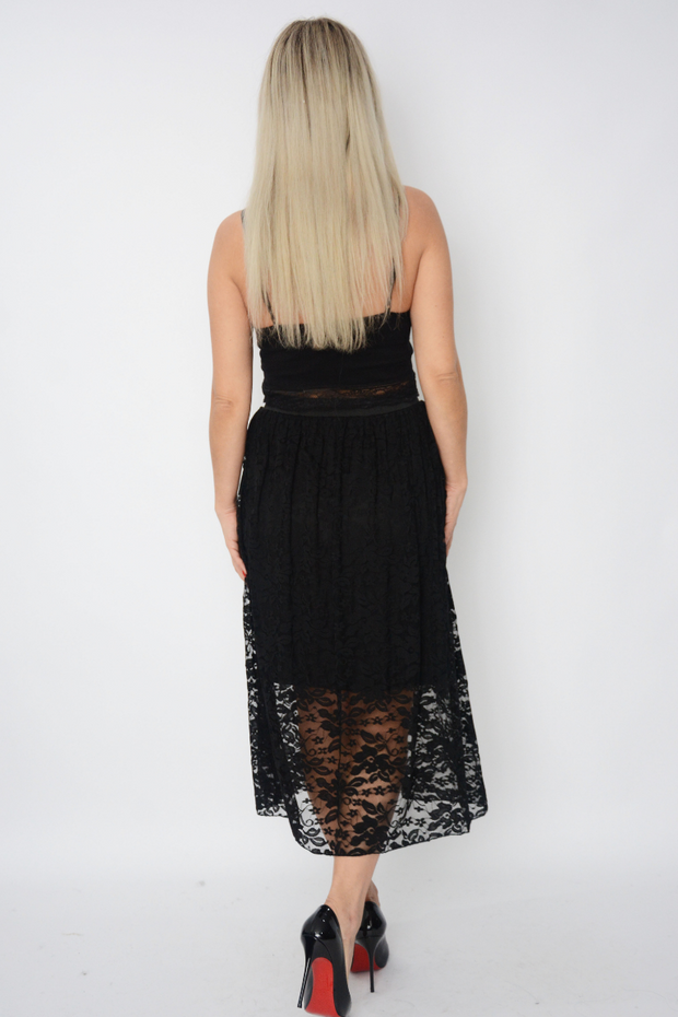 Black Lace Midi Flared Skirt