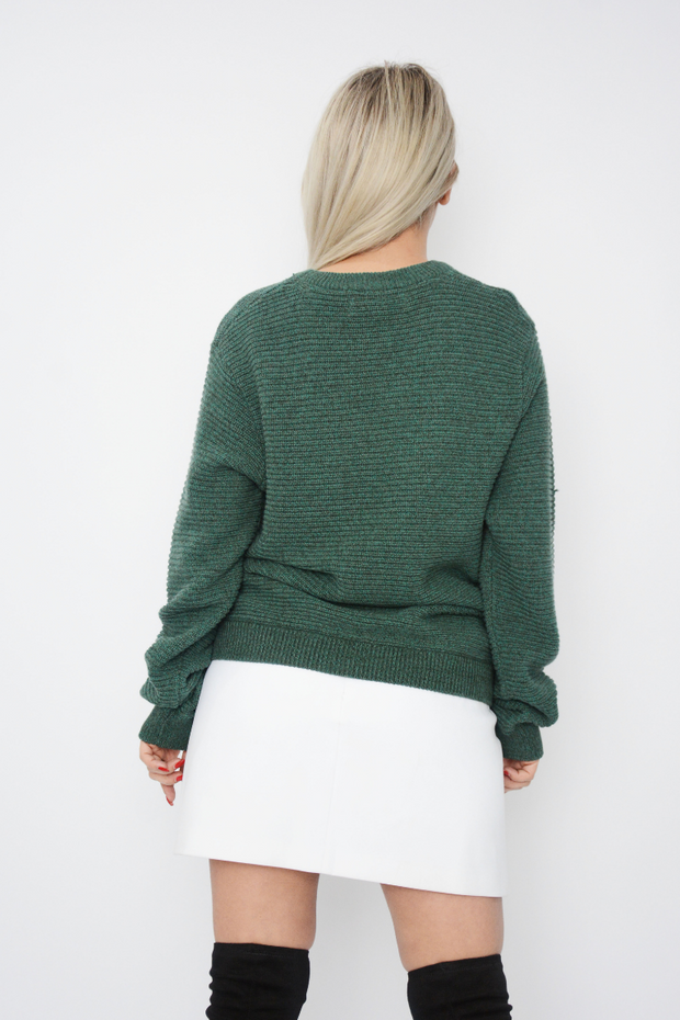 Green Ribbed Medium Knit Jumper
