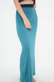 Teal Jersey Long Maxi Skirt