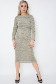Stone Fine Knit Shimmer Fitted Midi Dress