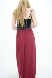 Burgundy Jersey Casual Maxi Skirt