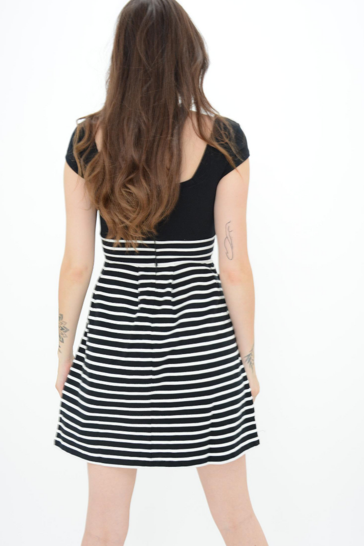 French Connection Black Stripes Fine Knit Fit and Flared Dress