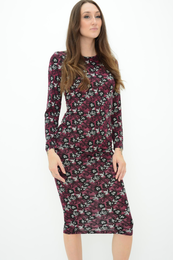 French Connection Burgundy Floral Print Midi Fitted Bodycon Dress