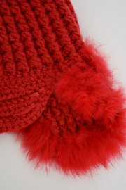 Red Chunky Knit Fur Trapper Hat