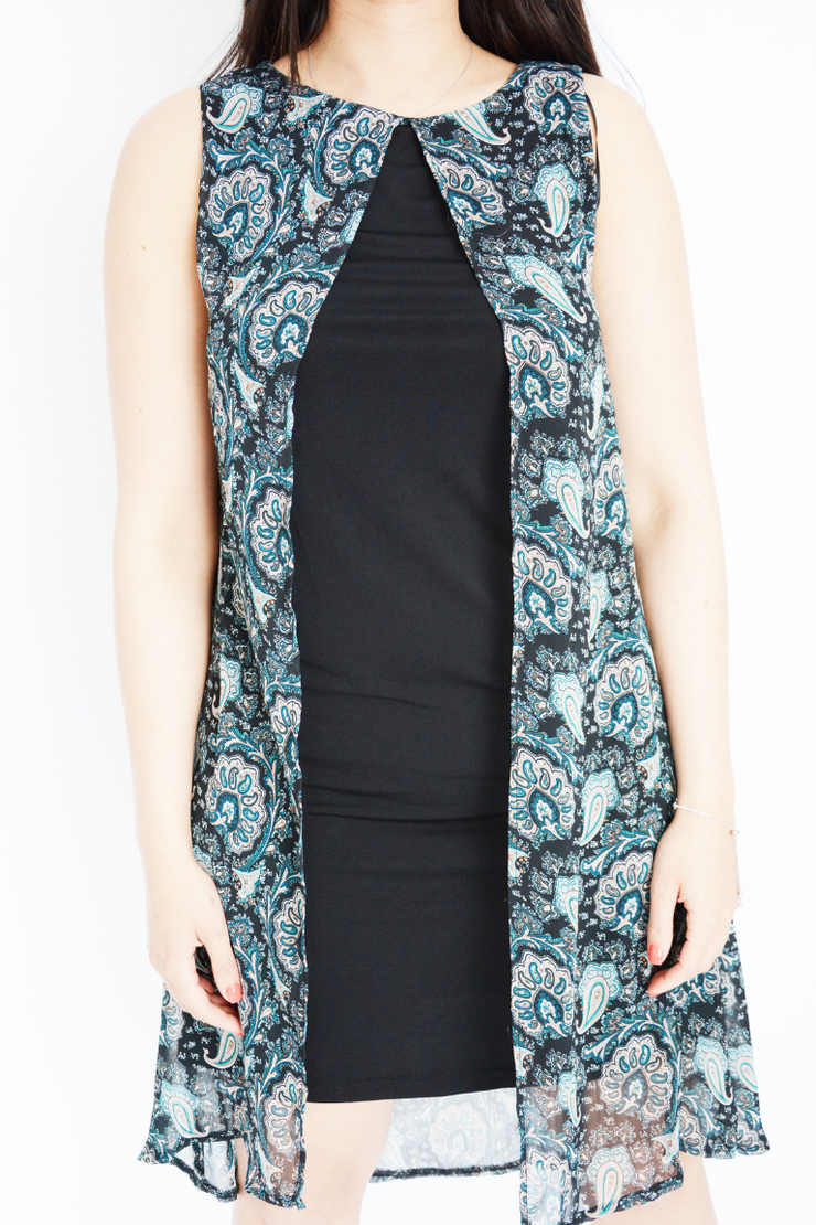 Black Paisley Chiffon 2 Layer Shift Dress