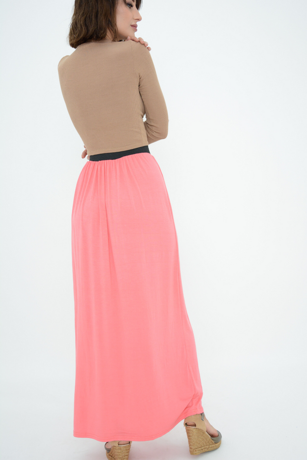 Coral Jersey Casual Maxi Skirt