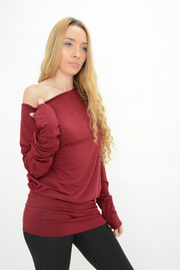 Burgundy Jersey Longline Casual Top