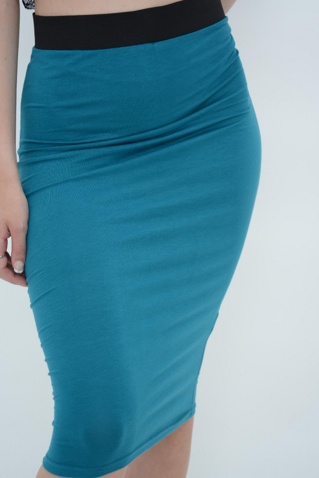 Pine Green Jersey Pencil Skirt