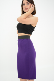 Purple Jersey Knee Pencil Skirt