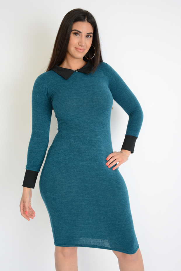Contrast Soft Knit Midi Dress