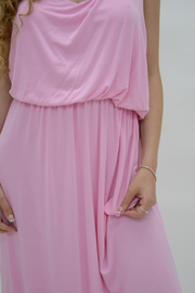 Baby Pink Racer Back Jersey Maxi Dress