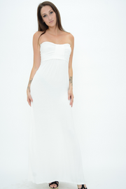 Cream Bow Jersey Bandeau Maxi Dress