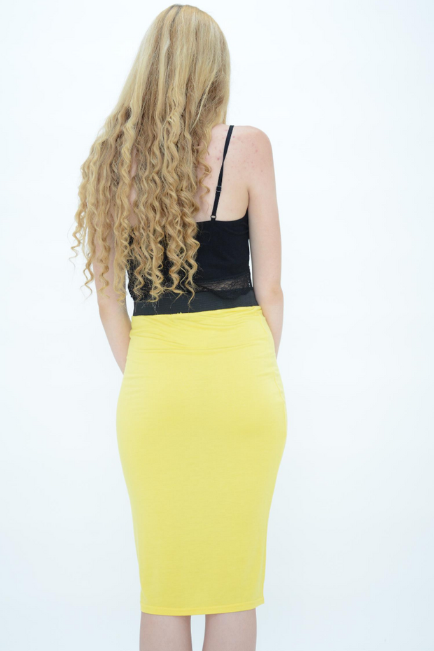 Yellow Jersey Pencil Skirt