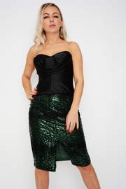 French Connection Green Flock Sequin Pencil Skirt