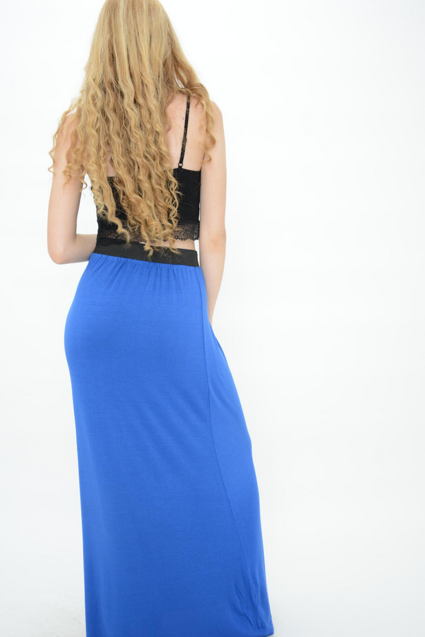 Blue Jersey Casual Maxi Skirt