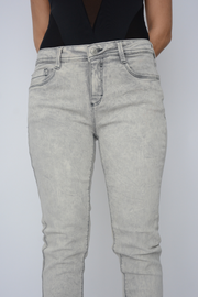 Light Grey Straight Leg Mid Rise Stretch Skinny Jeans