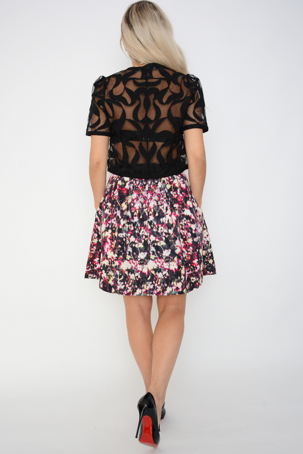 French Connection Midnight Bloom Flared Skirt