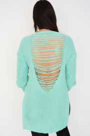 Mint Green Frayed Split Side Knit Jumper