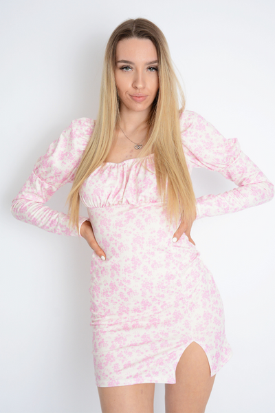 Pink Floral Print Bodycon Dress