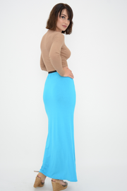 Turquoise Jersey Maxi Skirt