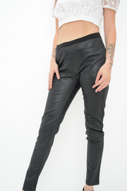 French Connection Black Lacquer Wave Leggings
