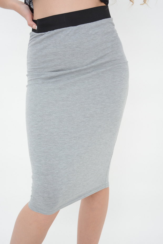 Grey Jersey Pencil Skirt