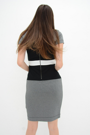 French Connection Black Stripe Jersey Bodycon Dress