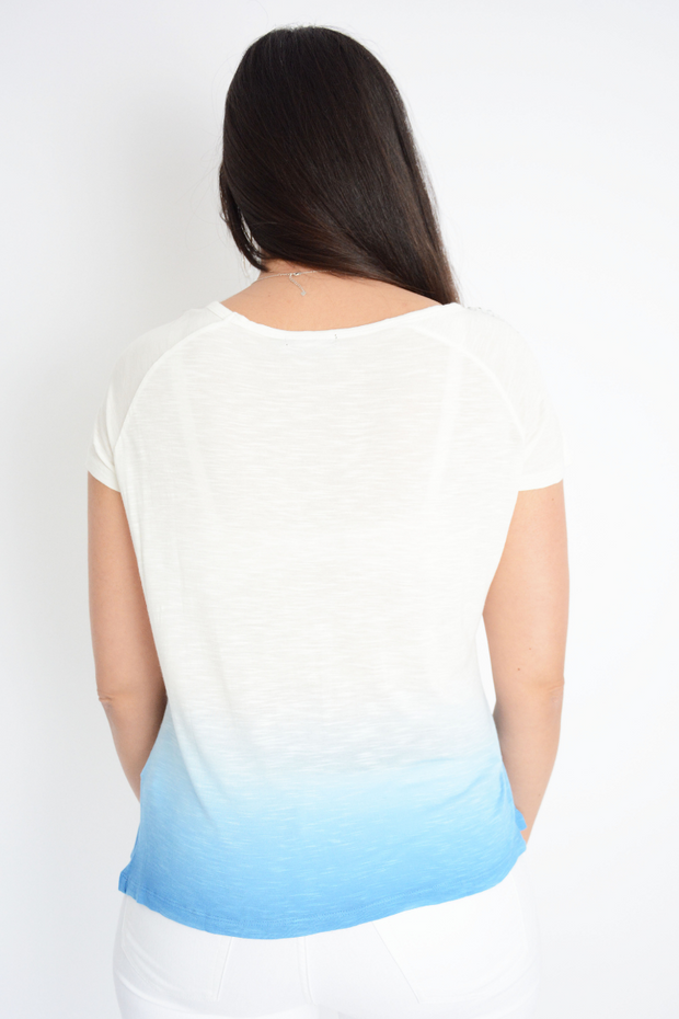 Blue Tie Dye Embellished  Casual T-Shirt