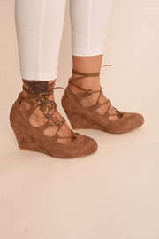 Mocha Suede Tie Up Wedge Shoes